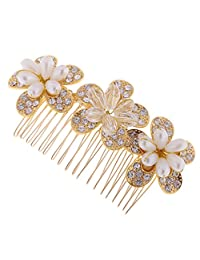 MonkeyJack Elegant Wedding Bridal Bridesmaid Hair Comb Clip Golden Flower Rhinestone Party Women's Hair Jewellery