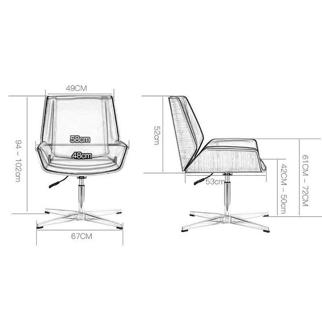 ZXL kontorsskrivbordsstol, läderklädsel, justerbar höjd armlös stol, mittrygg verkställande stolar, ben i rostfritt stål, mitten av århundradet modern (färg: svart) gUL