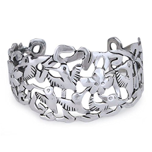 NOVICA .925 Sterling Silver Cuff Bracelet 'Hummingbird Mystique' by NOVICA