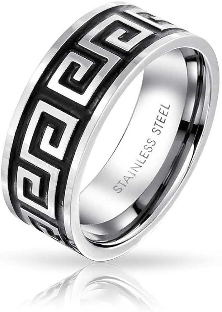 Bling Jewelry Clave Griega Geométrica Plana Negra Anillo De Bodas para Hombres Y para Mujer En Tono Plateado Negro De 8 Mm Acero
