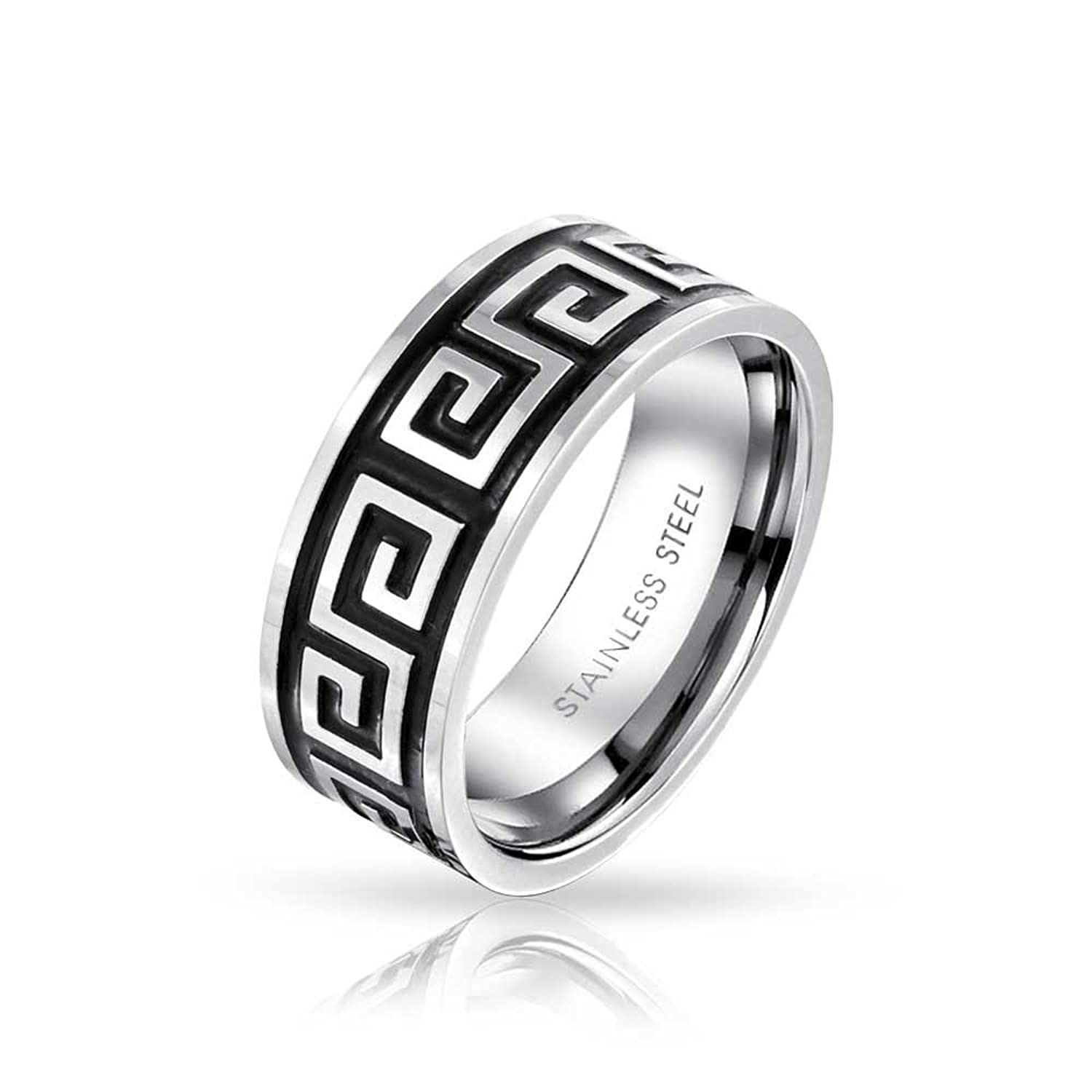 Bling jewelry greek key mens stainless steel band ringamazon biocorpaavc