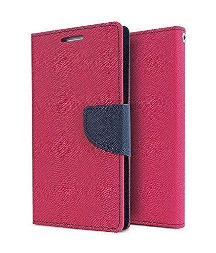 Qlez Wallet Flip Cover with Magnetic Lock  amp; Card Slots for Gionee F103 Pro  Pink