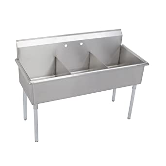 Elkay 3 Compartment Professional Grade Commercial Kitchen Stainless ...