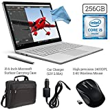 Microsoft Surface Book (256GB SSD, 8GB RAM, Intel 6th Gen Intel i5 + 15.6-Inch Microsoft Surface Carrying Case + 2.4G Wireless Portable Mobile Optical Mouse + Car Charger + DigitalAndMore Cloth