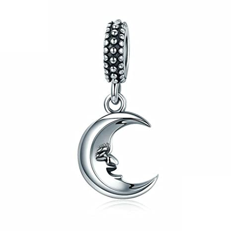 f9e39187a Amazon.com: 925 Sterling Silver Dangling Moon Charm for Pandora Charms  Bracelet & Necklace: Arts, Crafts & Sewing