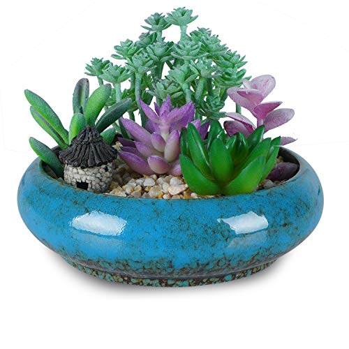7.3 inch Vintage Round Ceramic Planter Pots Blue Glazed Succulent Holder Bonsai Flower Vase Garden Decorative Cactus Plants Stand Artificial Topiary Potted Container (Blue)