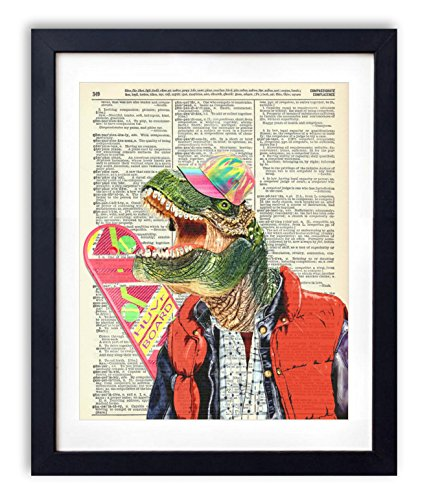 """""""Rex McFly"""" Back To The Future Dinosaur Upcycled Vintage Dictionary Art Print 8x10"""