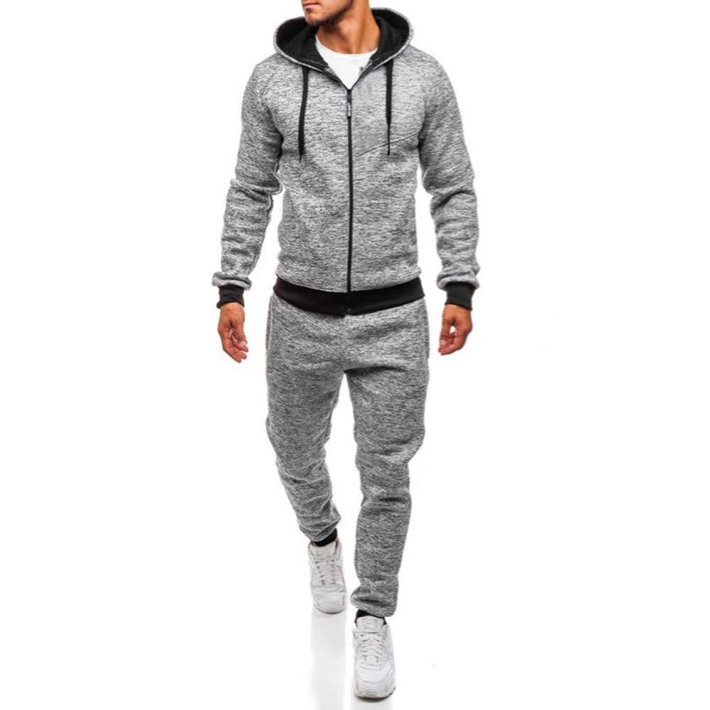 Classic Men's Autumn Winter Patchwork Sweatshirt Top Pants Sets Sports Suit Tracksuit,PASATO Clearance Sale(Gray, L) by PASATO (Image #1)