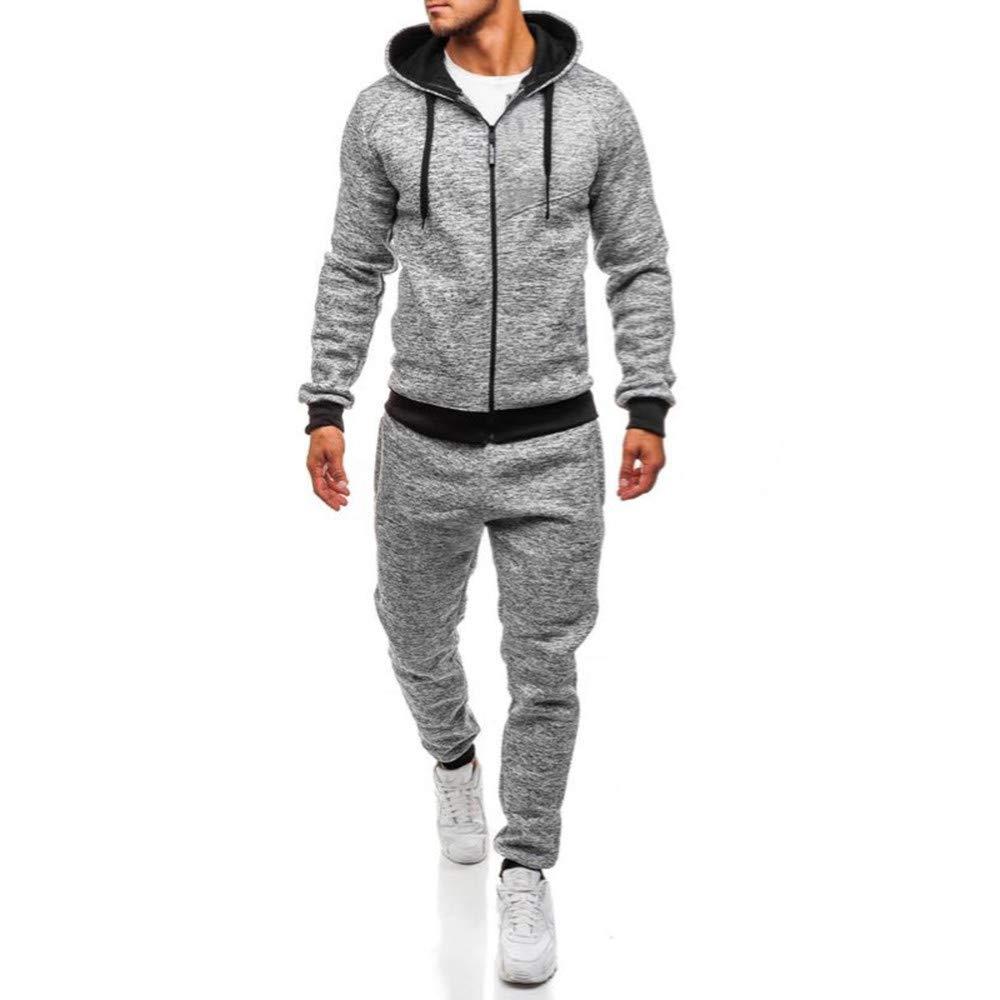 Classic Men's Autumn Winter Patchwork Sweatshirt Top Pants Sets Sports Suit Tracksuit,PASATO Clearance Sale(Gray, L)