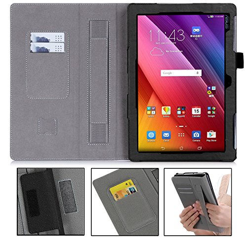 ASUS ZenPad 10 Case - Premium PU Leather Case Smart Auto Wake/Sleep Cover with Hand Strap, Card Slots, Pocket for ASUS ZenPad 10 Z300C/Z300M/Z301M/Z301ML/Z301MFL 10.1-Inch Tablet(Black)
