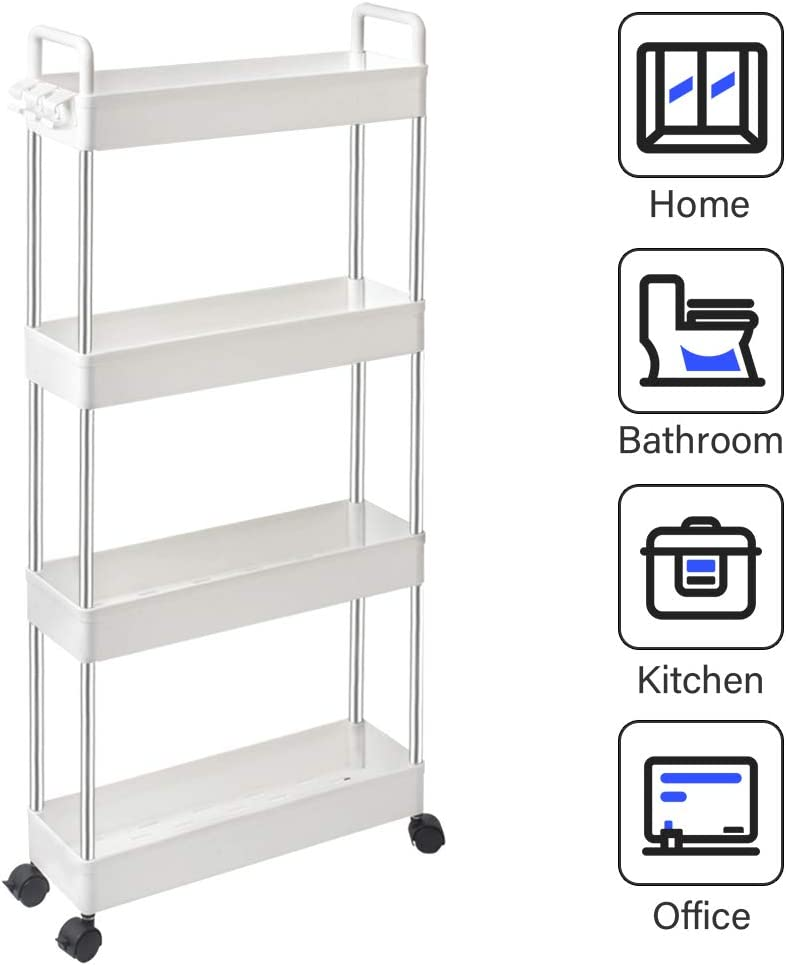 SOLEJAZZ 4-Tier Slim Storage Cart Mobile Shelving Unit Rolling Bathroom Carts with Handle, Rolling Organizer Cart for Kitchen Bathroom Laundry Room Narrow Places, White