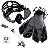 Snorkel Set Gear by ELEMETEX | Includes Scuba Mask, Diving...