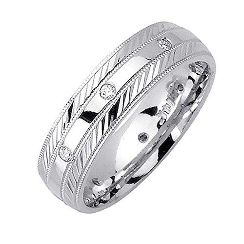 Diamond Platinum Wedding Band (0.16ct TDW White Diamonds Platinum Center Stripe Men's Wedding Band (G-H, SI1-SI2) (6mm) Size-10c2)
