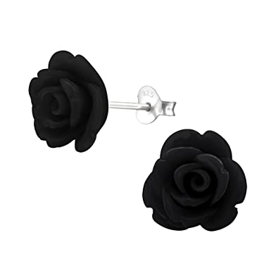 Black Rose Earrings - Sterling Silver (1.2cm) Ry1L3