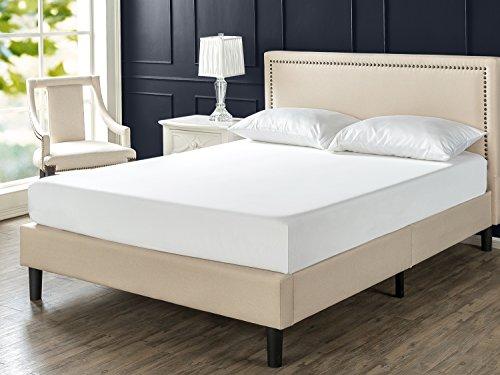 Zinus Deluxe Upholstered Nailhead Trim Platform Bed with Wood Slat Support, (Upholstered Queen Platform Bed)