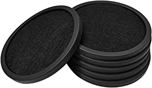 Coasters for Drinks, Set of 6 with Silicone Tray and Absorbent Felt Cup Coasters, Perfect for Bar and House, Suitable for Hot and Cool Beverages in Glasses, Cups, and Mugs (Black)