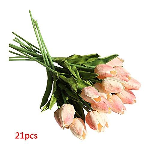 Flowers,Tulip,Bright Artificial Flowers Long Stem for Flower Arrangement Home Office Wedding Decoration 21pcs/set ()