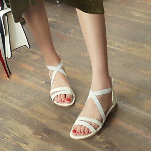 Plates Solides À Croix Taoffen Femmes Ouvert Criss Confortables Sandales À Bout Beige Chaussures Fermeture Glissière wwpfqPOn