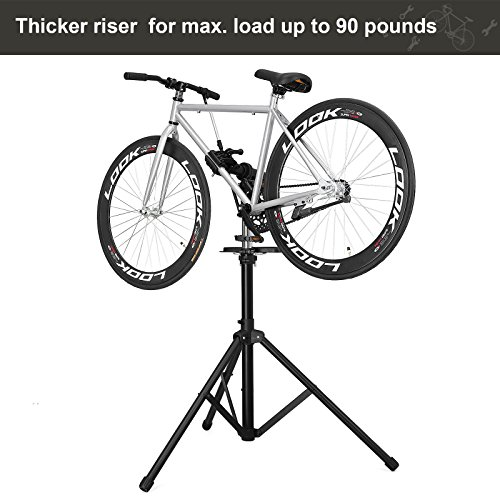 SONGMICS Bike Repair Stand with Aluminum Alloy Arm, Large Tool Tray, Full Features Stronger & Durable, Portable, Compact USBR03B by SONGMICS (Image #1)