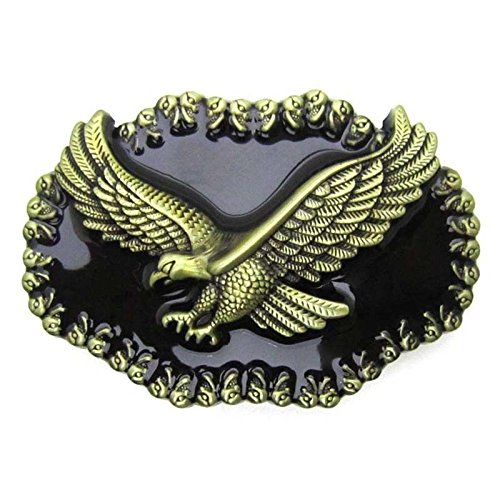 Western Bald Soaring Flying Eagle Metal Belt Buckle Hawk Brass Vintage ()