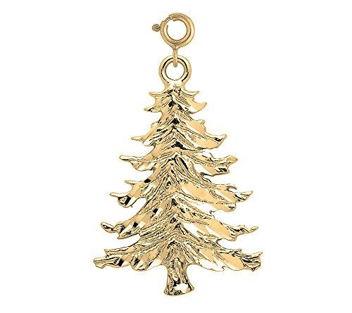 14K Yellow Gold Christmas Tree Charm - (14k Gold Christmas Tree)