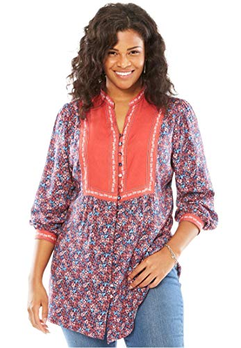 Button Cuff Print Blouse - Woman Within Plus Size Mixed Print Blouse, Red Ditsy Floral, M