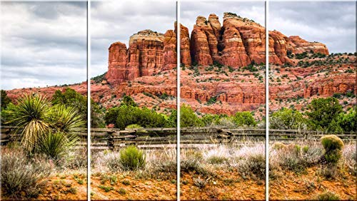 - Cathedral Rock 4 panel stretched canvas wall art. Sedona original panoramic landscape photography.