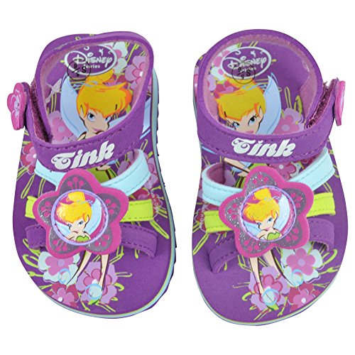 Disney Tinkerbell Toddler BRS Tink Fairies Floral Girls Velcro Strap Sandals 7/8 (Tinkerbell Items)