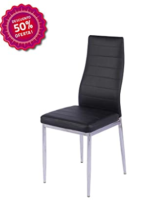 BUDMOSUR Silla de salón comedor negra patas cromadas: Amazon.es: Hogar