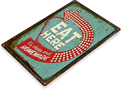 Tinworld Tin Sign Eat Here Retro Rustic Diner Restaurant Bar Pub Kitchen Cottage Metal Sign Decor B926 ()