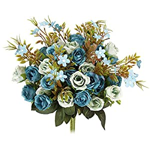 N&T NIETING 5 Branch 10 Heads Aritificial Fake Flowers Silk Mini Rose Flowers Wedding Bridal Bouquet Home Office Decor, Pack of 4 67
