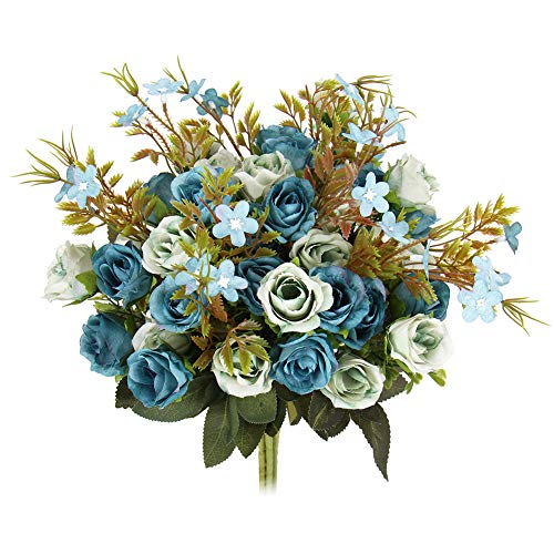 (N&T NIETING 5 Branch 10 Heads Aritificial Fake Flowers Silk Mini Rose Flowers for Wedding Bridal Bouquet Home Office Decor, Pack of 4 (Blue))