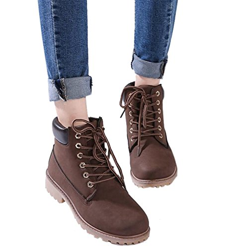 DADAWEN Women's Lace Up Low Heel Work Combat Boots Waterproof Ankle Bootie Brown US Size 11 by DADAWEN (Image #4)