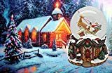 Lightahead Musical Santa Water Snow Globe Playing a Tune & Rotating for Christmas in PolyResin 80MM