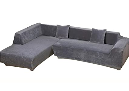 WOMACO L Shape Sofa Covers Sectional Sofa Cover 2 Pcs Stretch Sofa  Slipcovers For L