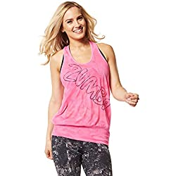 Zumba Women's Get Hyped Up Bubble Tank Top, Lily, X-Small/Small