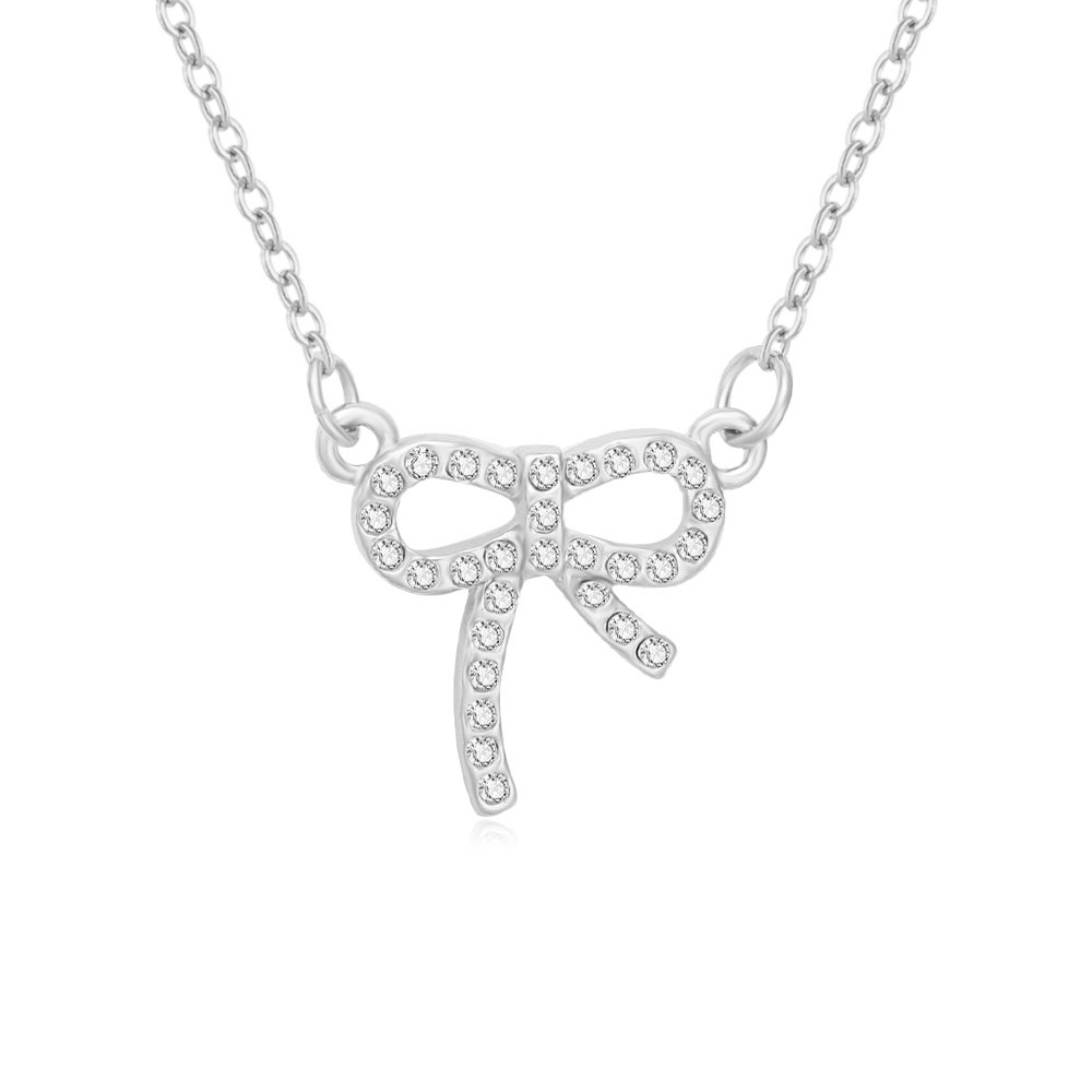 NOUMANDA Silver Crystal Bow Tie Pendant Necklace Sweet Jewelry for Women Girls