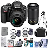 Nikon D3400 DX-Format DSLR Camera, Black with AF-P DX NIKKOR 18-55mm F/3.5-5.6G VR and AF-P DX NIKKOR 70-300mm F/4.5-6.3G ED Lenses - Bundle with Tripod, 32GB SDHC Card, Spare Battery and More