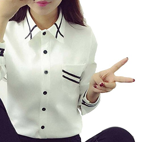 ofndd66 Elegant Bow tie White Blouses Chiffon Turn Down Collar Shirt Ladies Tops as The Picture Shown XL ()