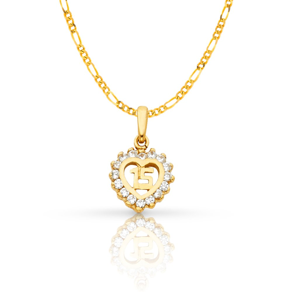 14K Yellow Gold Sweet 15 Years Quinceanera Heart Cubic Zirconia CZ Charm Pendant with 1.6mm Figaro 3+1 Chain Necklace - 20''