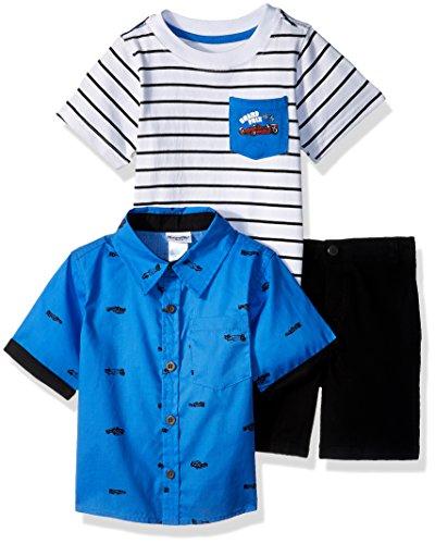 Nannette Boys' 3 Piece Woven Shirt and Tee Short Set