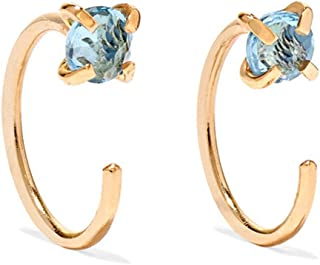 product image for Melissa Joy Manning 14k Gold Blue Topaz Gemstone Hug Earrings