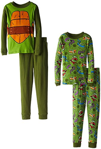 [Teenage Mutant Ninja Turtles Big Boys' Michaelangelo Costume 4-Piece Pajama Set, Multi, 8] (Nickelodeon Themed Costumes)