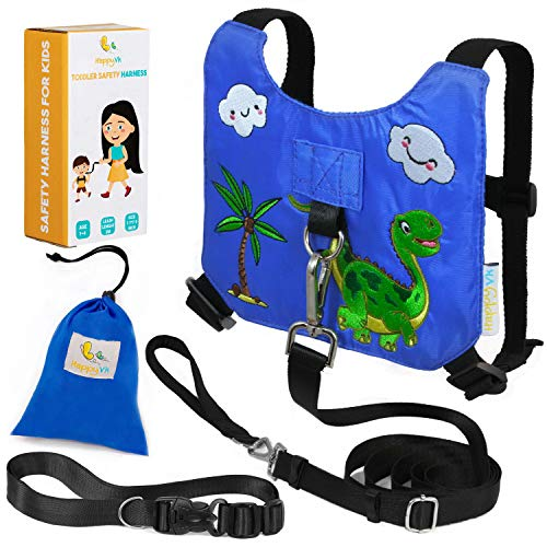 - HappyVk Safety Harness for Kids-Anti Lost Walking Toddler Baby Leash-with Free Drawstring Storage Bag and Hands Free Belt for Parents-Cute Dinosaur Embroidery-Suitable for 1-4 Years Old Boys, Girls