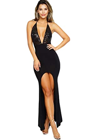 shelovesclothing Women s Sexy Black Halterneck V Neck Plunge Slit Party  Maxi Dress (Small 6- 2c5e0cfd6