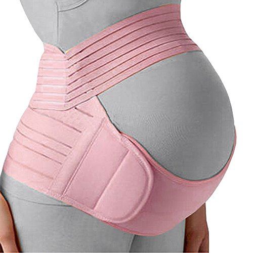 Maternity Belt, Maternity Belly Band - Back Pain Reducing, Pelvic Pressure Relieving Pregnancy Belt by Comfy Mom - Adjustable Pregnancy Band with Breathable Material. Baby Pink Color - Size L