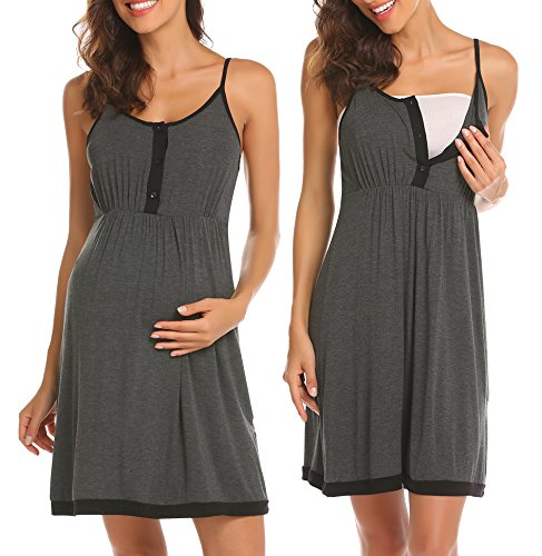 Image of the Ekouaer Maternity Nursing Nightgown Dress Sleepwear Breastfeeding Pregnancy Dark Grey