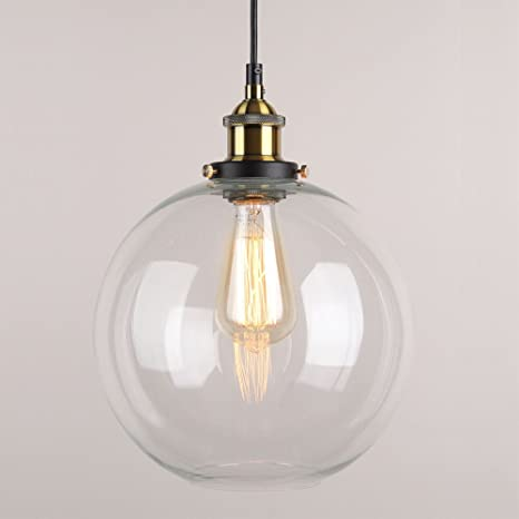Winsoon 9 x 9 inch globe vintage industrial ceiling lamp clear glass winsoon 9 x 9 inch globe vintage industrial ceiling lamp clear glass pendant lighting for kitchen aloadofball Images