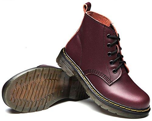 uBeauty Damen Lederstiefel Flache Boots Klassischer Schnüren Freizeitschuhe Rot-A Samt