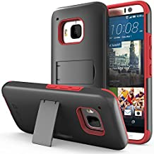Vena HTC One M9 Legacy Case [Dual Layer Protection][Shock Absorption] Heavy Duty Hybrid Case with Kickstand + 1 PREMIUM (HD CLEAR) Screen Protector for 2015 HTC One (M9) Hima (Black/Red)